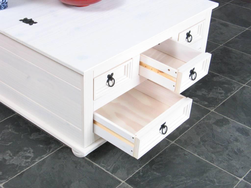 Dekenkist met laden wit salontafel New Mexico   hioshop nl   online meubels   goedkope meubels