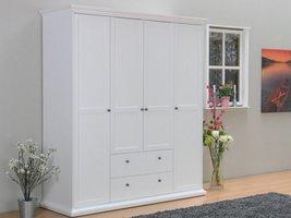 Tvilum Garderobekast wit met 4 deuren en 2 laden Venetië 181x201x61 cm