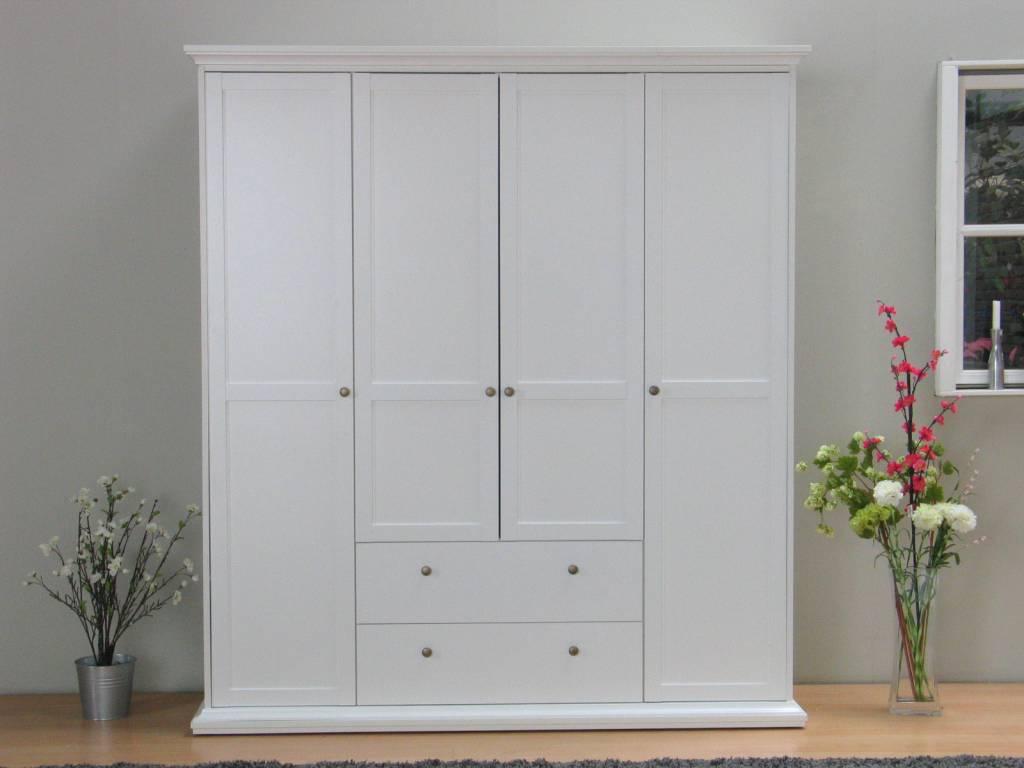 Tvilum Garderobekast wit met 4 deuren en 2 laden Veneti u00eb 181x201x61 cm   hioshop nl   online