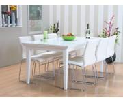 eethoek Venetië met 6 witte stoelen Cube Tvilum