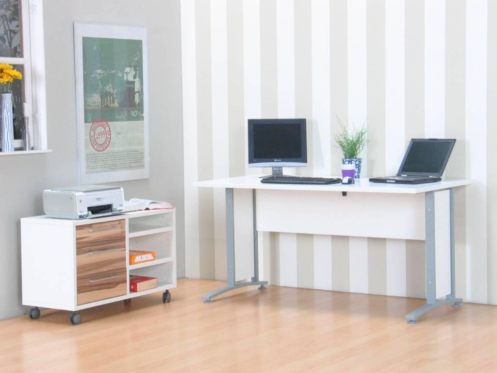 Tvilum bureau hoogglans wit prima met ladeblok   hioshop.nl ...