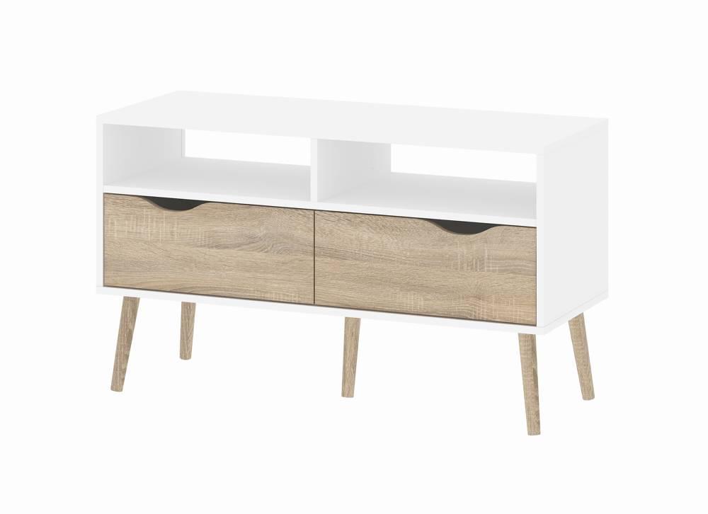 TV-meubel Napoli met 2 lades en 2 open vakken wit eiken