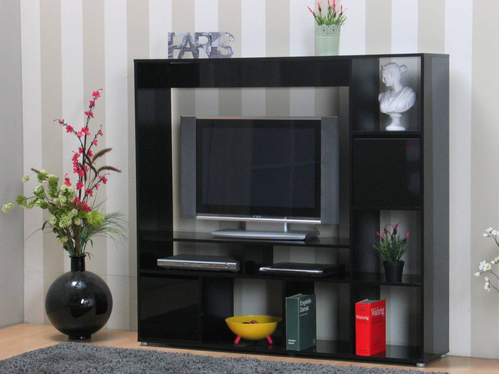 TV meubel Casie TV-wand zwart hoogglans