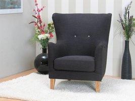 Oorfauteuil retro fauteuil antracietgrijs