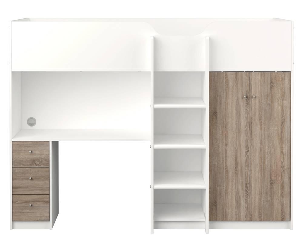 Tvilum hoogslaper irma met opbergkast planken bureau en lades - Hoogslaper met geintegreerde garderobe ...