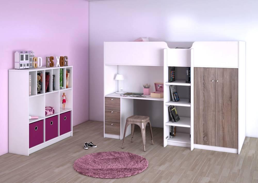 Tvilum hoogslaper irma met opbergkast planken bureau en lades