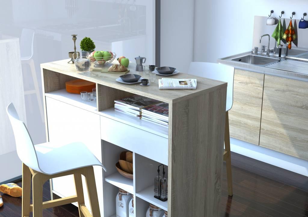 Bartafel Voor Keuken : Tvilum Bartafel James wit hoogglans en eiken – hioshop.nl – online