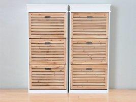 Schoenenkasten wit met houten kleppen Anna, set van 2 stuks