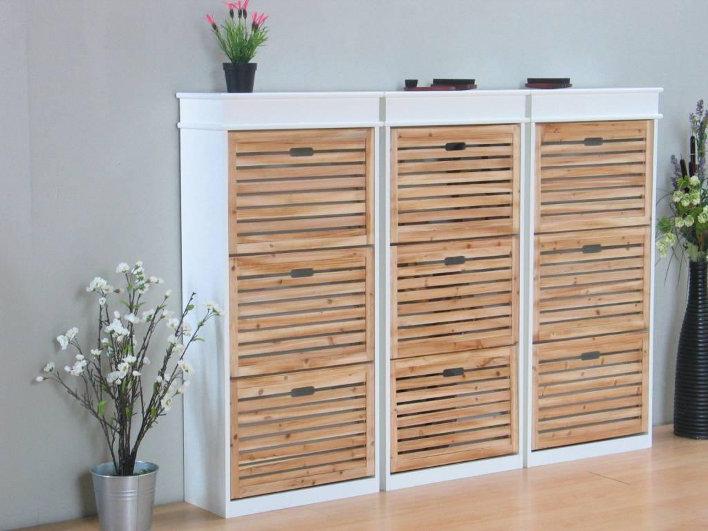 Schoenenkasten wit met 9 houten kleppen anna, set van 3 stuks ...