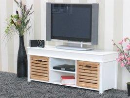 TV meubel wit Anna 120cm breed, met 2 houten lades