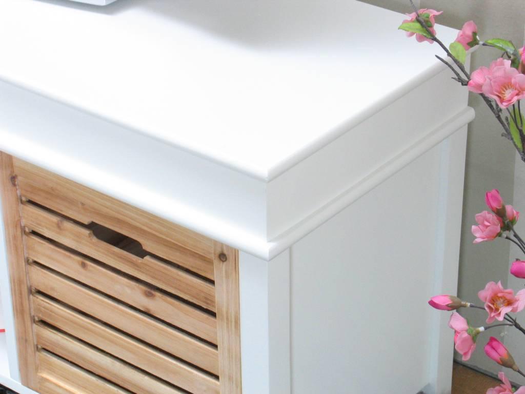 Tv meubel wit anna 120cm breed, met 2 houten lades   hioshop.nl ...