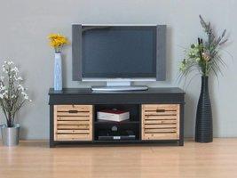 TV meubel zwart Anna 120cm breed, met 2 houten lades