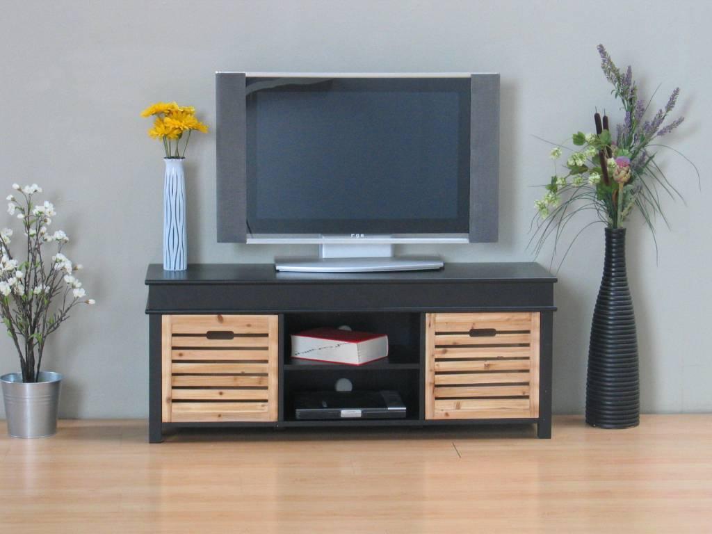 Slaapkamer Tv Meubel : TV meubel zwart Anna 120cm breed, met 2 houten ...
