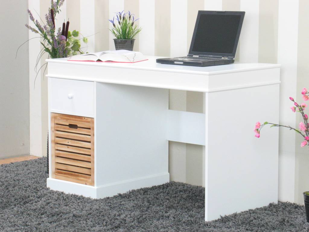 bureau wit anna met 2 lades 120 cm breed. Black Bedroom Furniture Sets. Home Design Ideas