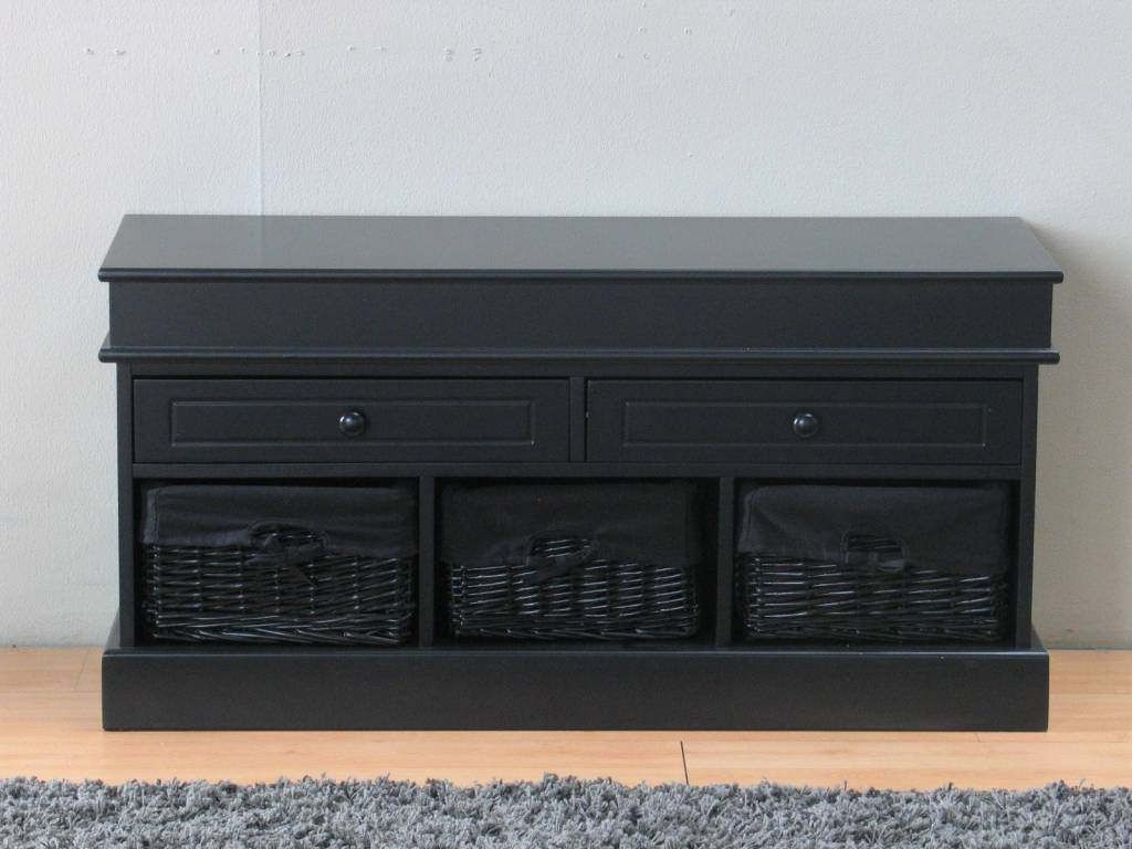 tv meubel zwart 100 cm breed met zwarte mandjes trine. Black Bedroom Furniture Sets. Home Design Ideas
