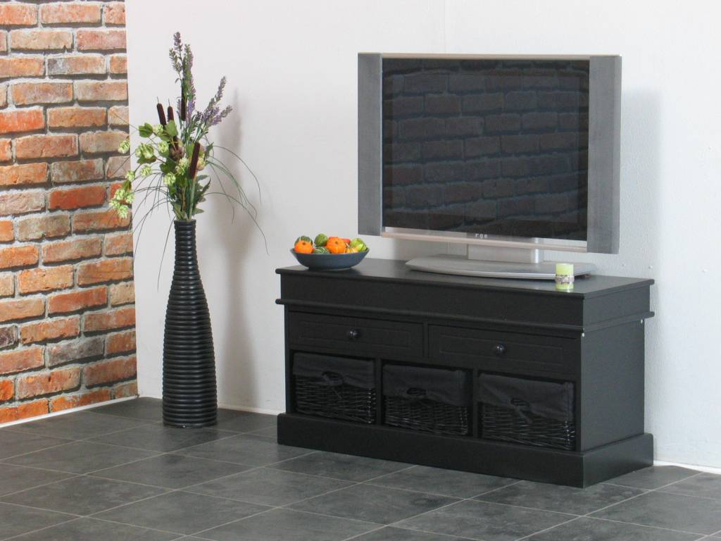 tv meubel zwart 100 cm breed met zwarte mandjes trine. Black Bedroom Furniture Sets. Home Design Ideas