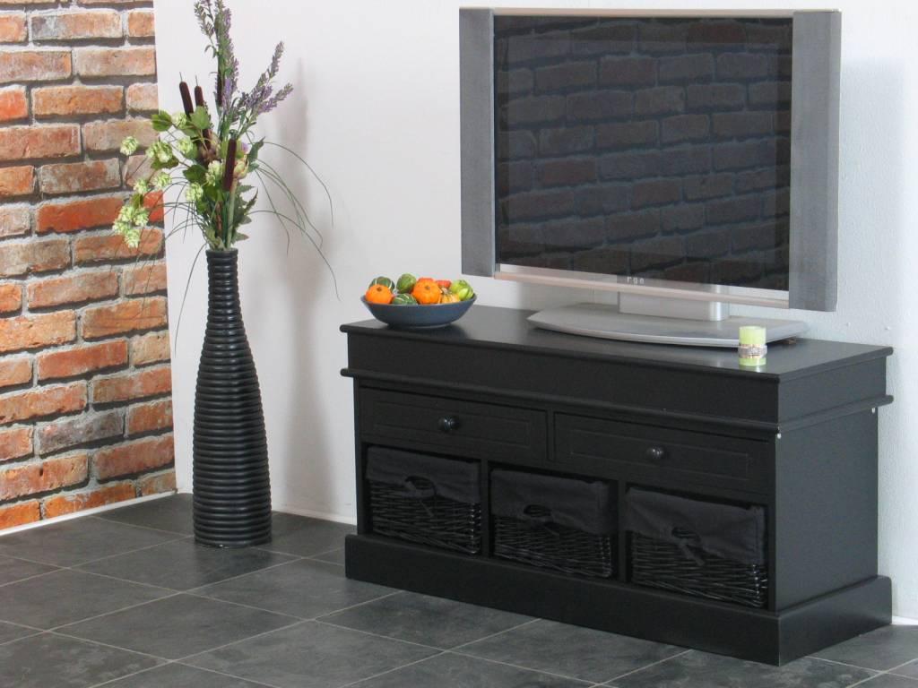 TV meubel zwart 100 cm breed met zwarte mandjes Trine