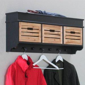 Kapstok Anna zwart 100 cm breed met houten mandjes € 134.95 bij ...