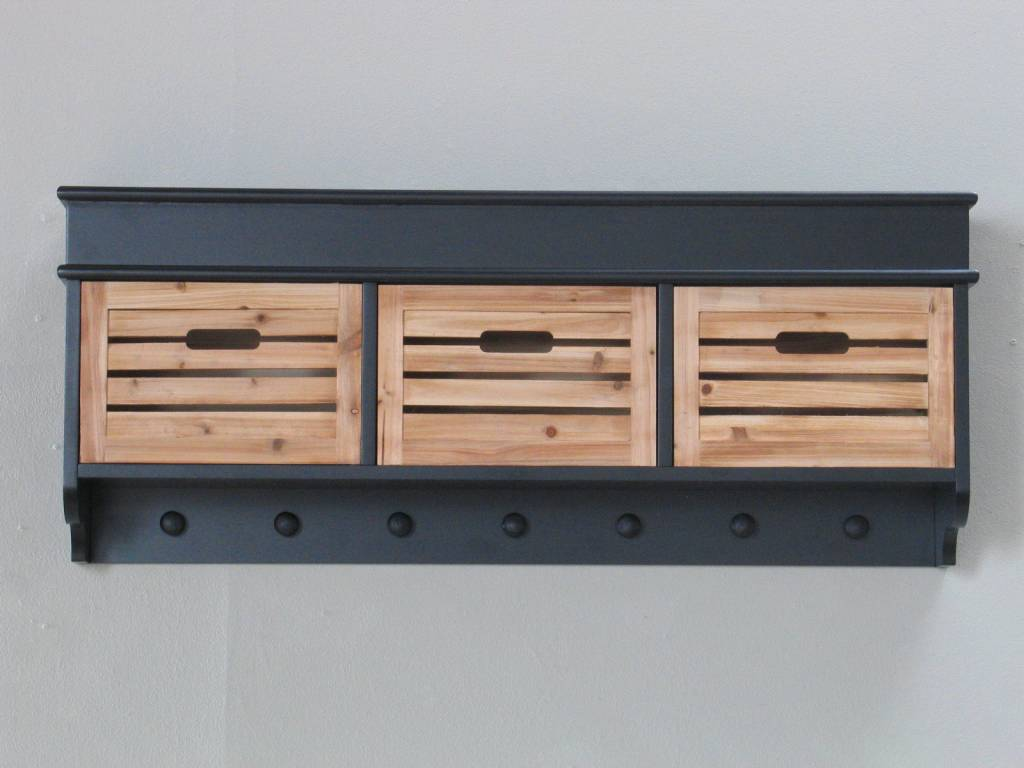 Kapstok Anna zwart 100 cm breed met houten mandjes   hioshop nl   online meubels   goedkope meubels