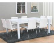 Vierkante eethoek Sirius wit tafel met 8 stoelen