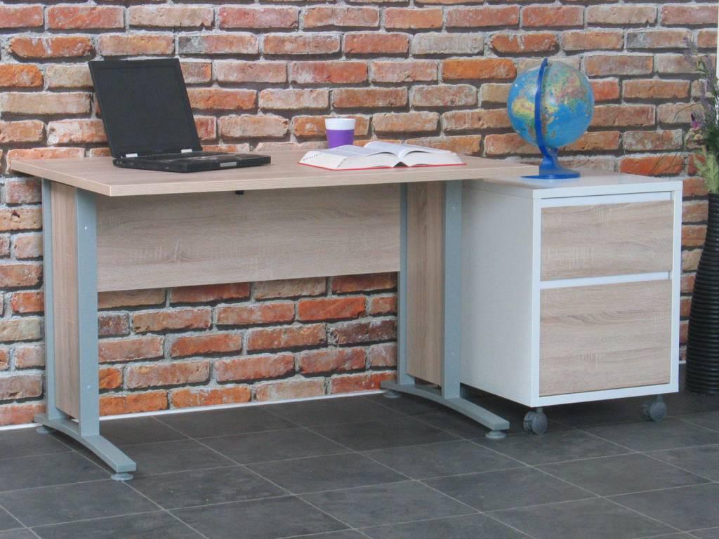Tvilum bureau prima met ladenblok 120 cm breed for Ladenblok op bureau