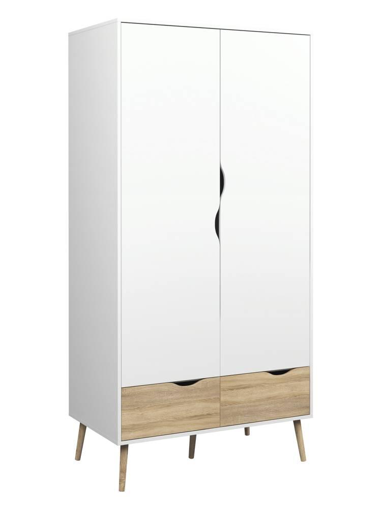 Tvilum kledingkast napli 2 deurs kledingkast wit eiken online meubels goedkope - Moderne kledingkast ...