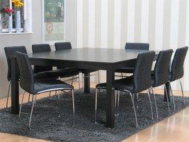 Eethoek vergaderset Sirius vierkant zwart met 8 stoelen