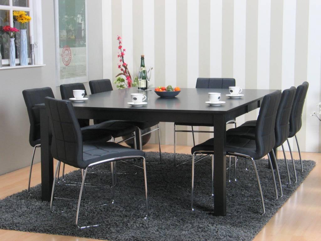 Eethoek vergaderset sirius vierkant zwart met 8 stoelen   hioshop ...