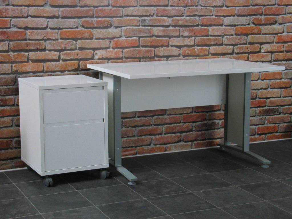 Prima wit 120 cm met rolcontainer
