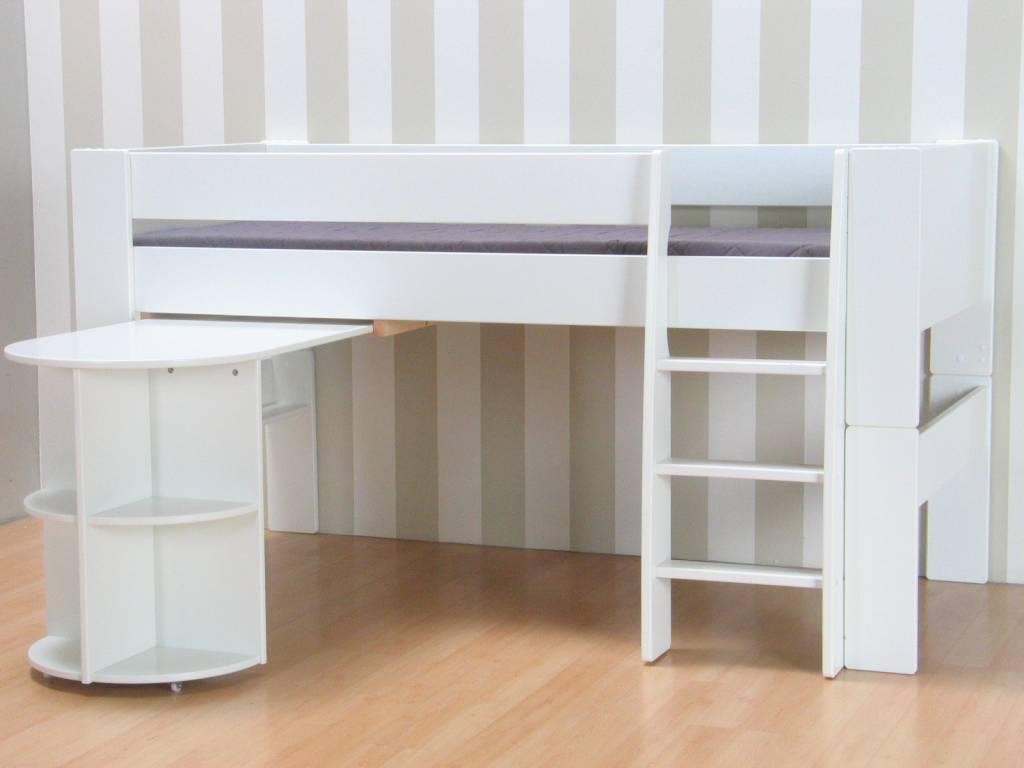 Halfhoogslaper bed met bureau molly kids - Bed kind met mezzanine kantoor ...
