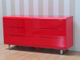 Spacy dressoir hoogglans rood met 6 lades 160cm