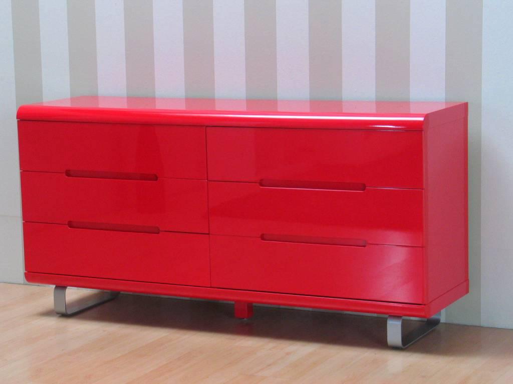 Spacy hoogglans rood dressoir met 6 lades 160cm   hioshop.nl ...