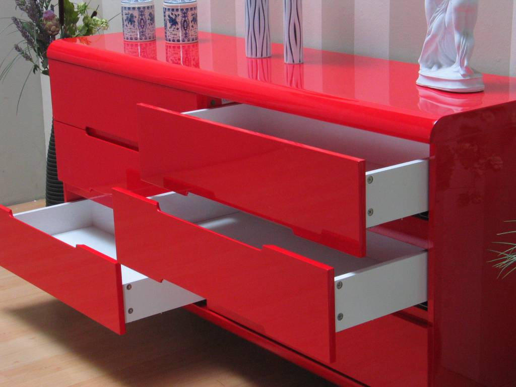 Spacy hoogglans rood dressoir met 6 lades 160cm - hioshop.nl ...