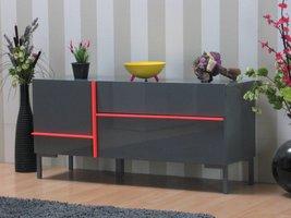 Modern dressoir Juice 140 cm grijs hoogglans