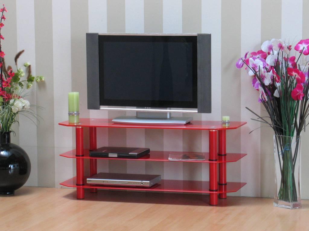 Glazen TV meubel rood 120x50 cm Zeuss - hioshop.nl - online ...