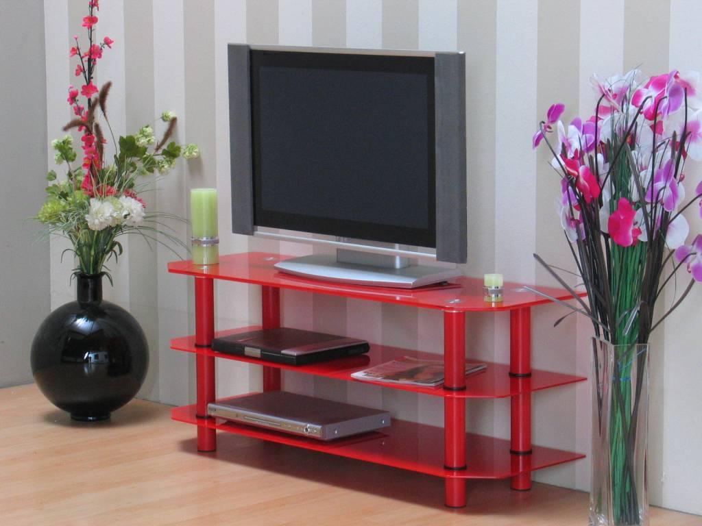 Glazen tv meubel rood 120x50 cm zeuss   hioshop.nl   online ...