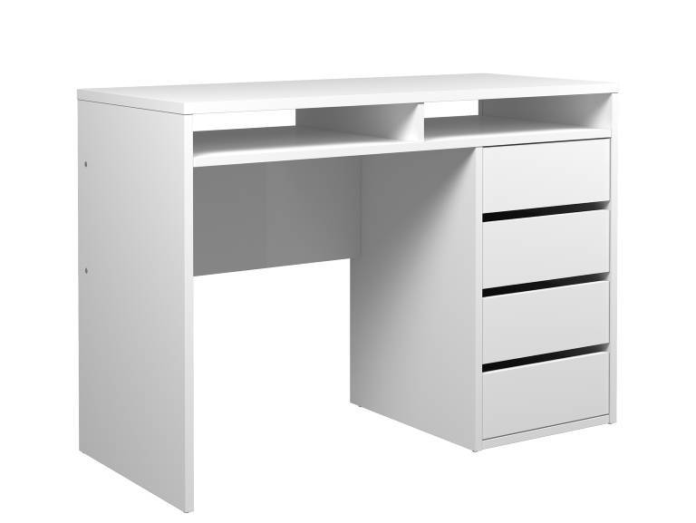 bureau plus 110x77 wit hoogglans met 2 vakken 4 lades. Black Bedroom Furniture Sets. Home Design Ideas