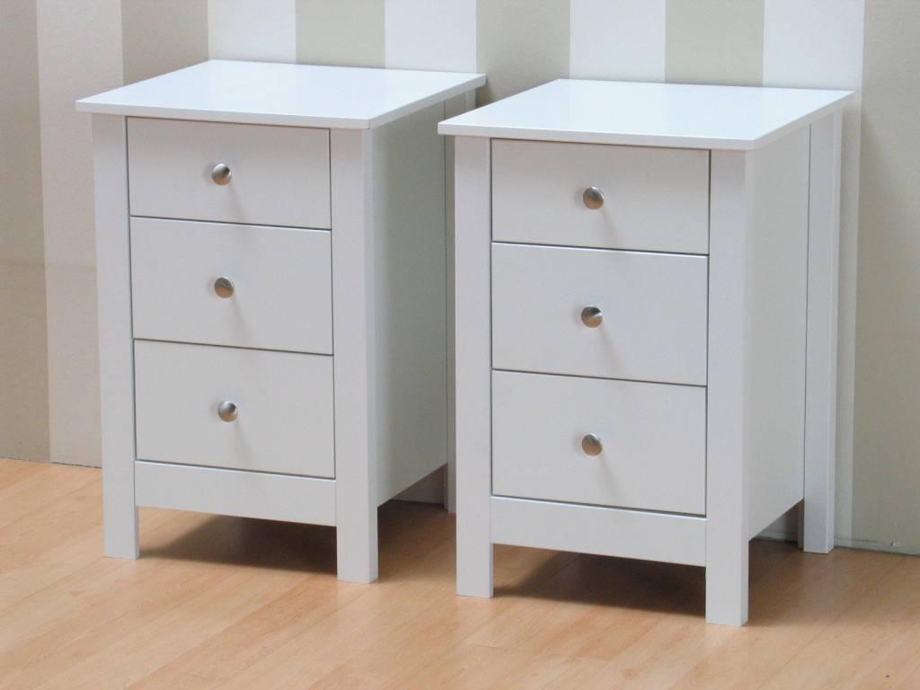 Wit nachtkastje met lades 40x60x40 cm Justin - hioshop.nl - online ...