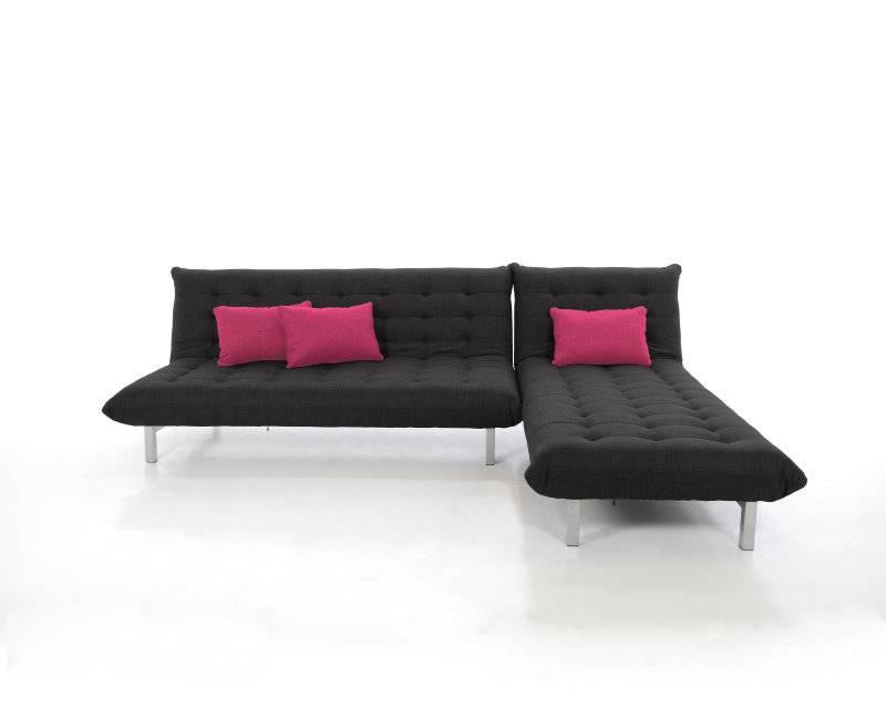 Slaapbank + Chaise longue Zeal antracietgrijs, incl 3 kussens