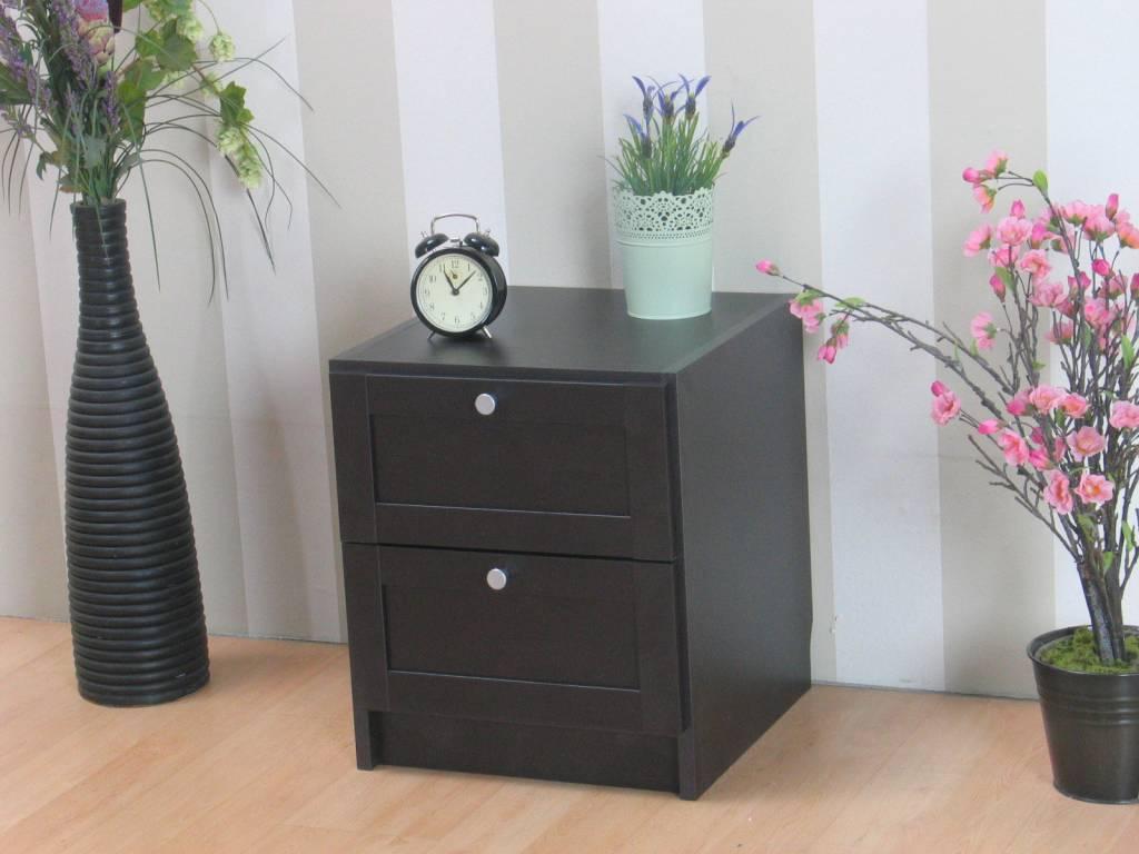 Nachtkastje Beth met 2 lades donkerbruin   hioshop nl   online meubels   goedkope meubels