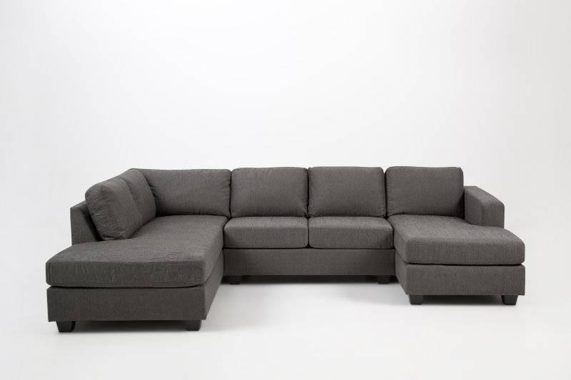 Hoekbank stof grijs Dustin met rechtse hoek en chaise longue