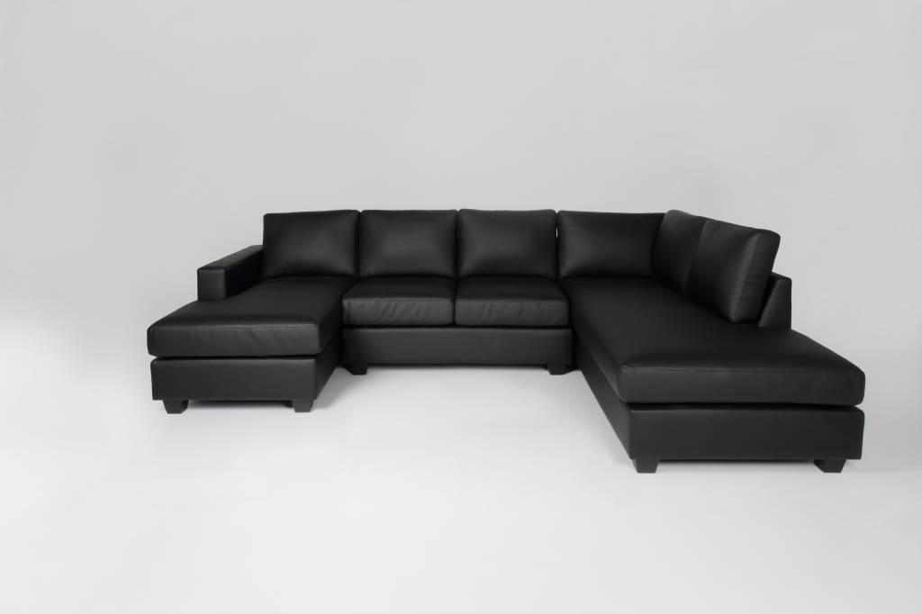 Hoekbank zwart kunstleer Durango met rechtse hoek en chaise longue