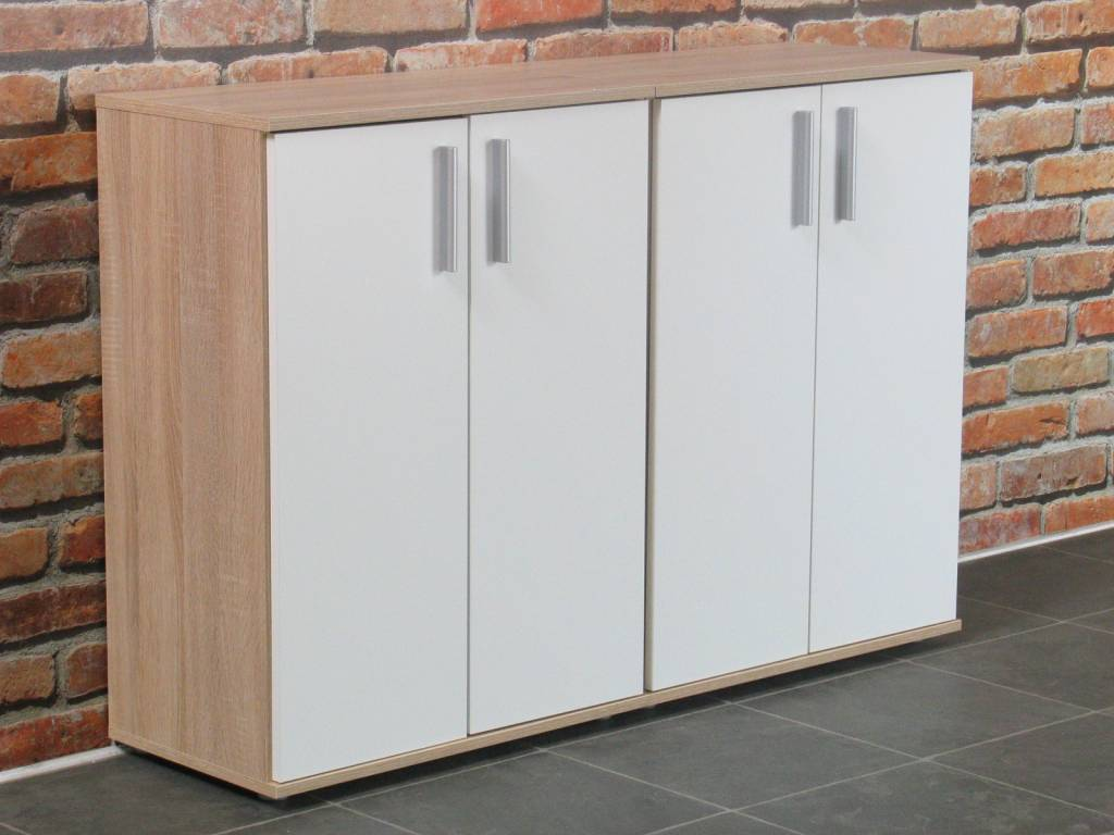 Wit eiken woonkamer : Ulm kommodes met 2 deurtjes eiken wit (set van 2 ...