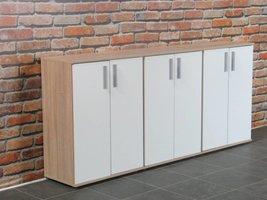 Ulm kommodes met 2 deurtjes eiken/wit (set van 3 stuks)