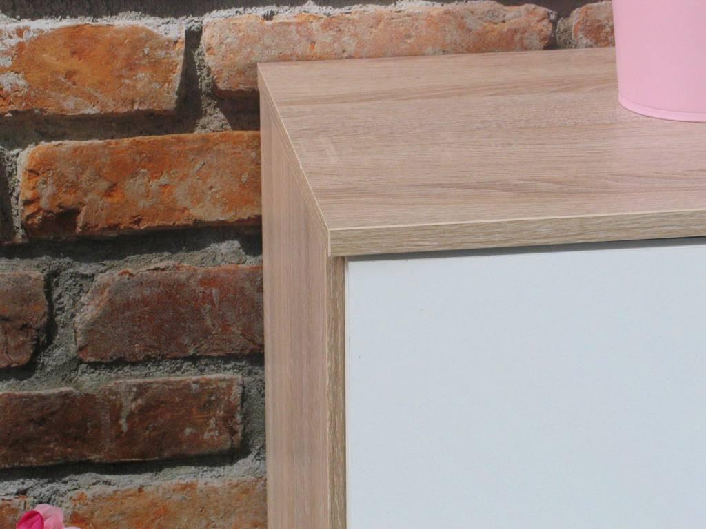 Ulm kommodes met 2 deurtjes eiken/wit (set van 3 stuks)   hioshop ...