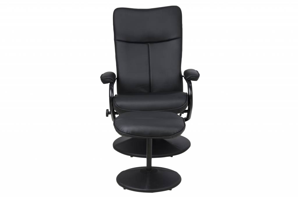 Relaxfauteuil met hocker Brandy zwart lederlook