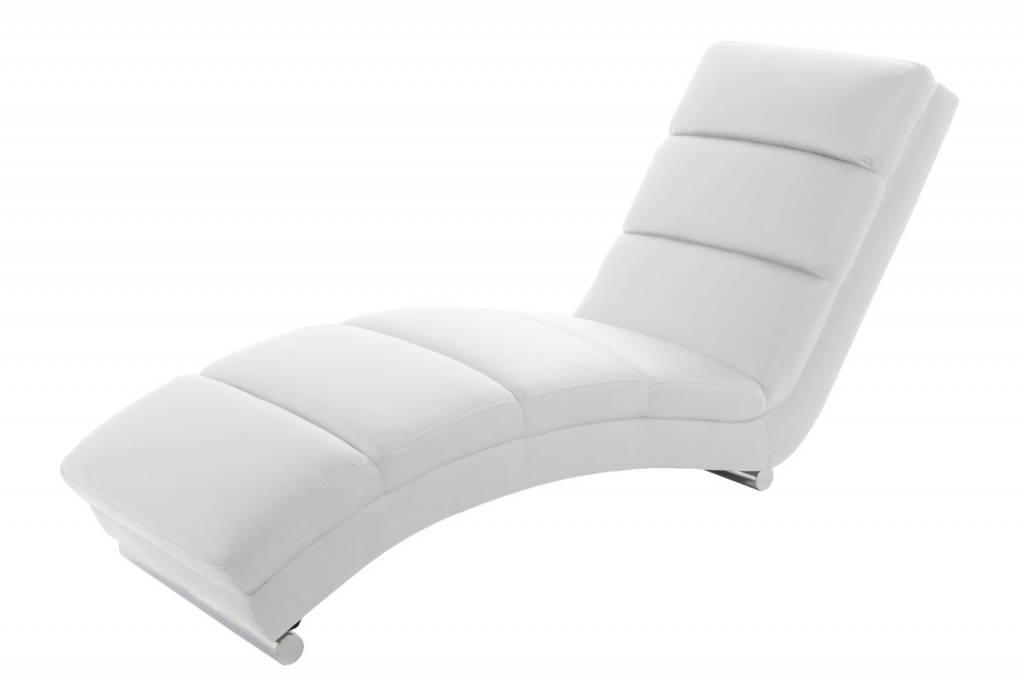 Chaise Longue Leer : Relaxstoel design ligstoel sanne wit kunst leer