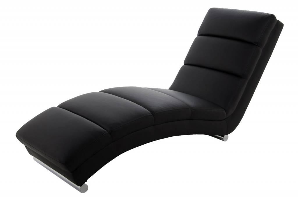 Relaxstoel design ligstoel sanne zwart kunstleder for Relax stoel