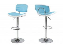 Barkruk Sam turquoise en wit design met chromen onderstel