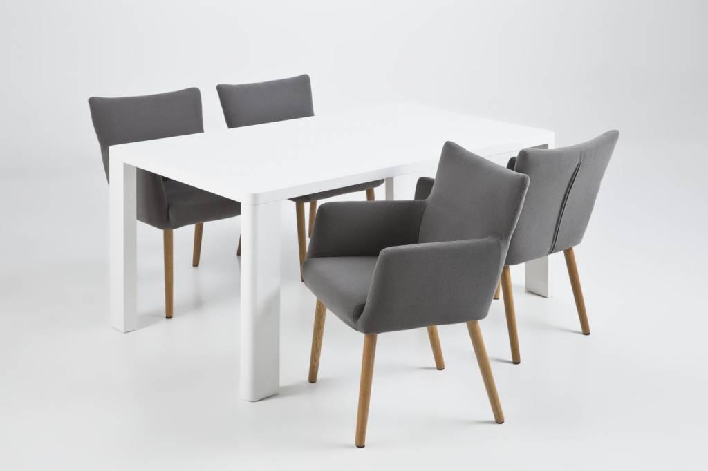 Fyn nelson eetkamerstoel met armleuning grijs for Habillage de chaise en tissus